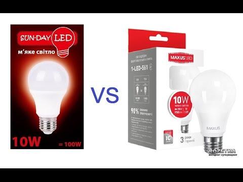 Люксометр - Sun-Day LED vs Maxus - световой поток светодиодные лампы