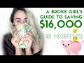 BROKE GIRL SAVES $16,000 IN 18 MONTHS + 5 tips