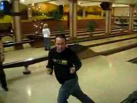 Crazy Bowling guy doing a victory dance