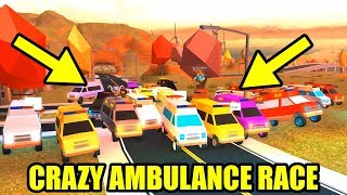 CRAZIEST AMBULANCE RACE EVER!!! [AMBULANCE vs TRAIN] | Roblox Jailbreak Volcano Update