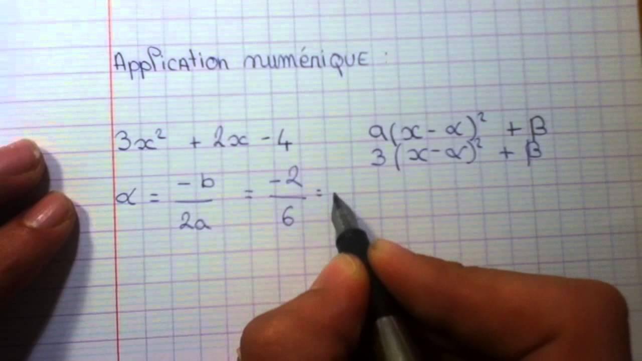 Déterminer la forme canonique - Fonction polynôme du second degré - YouTube