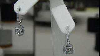 Dangle Diamond Earrings 14k White Gold