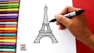 Cómo dibujar la TORRE EIFFEL fácil (paso a paso) | How to draw The Eiffel Tower Easy!