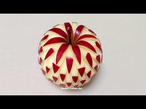 Simple Apple Beautiful Design - Intermediate Lesson 2 By Mutita Art Of Fruit And Vegetable Carving