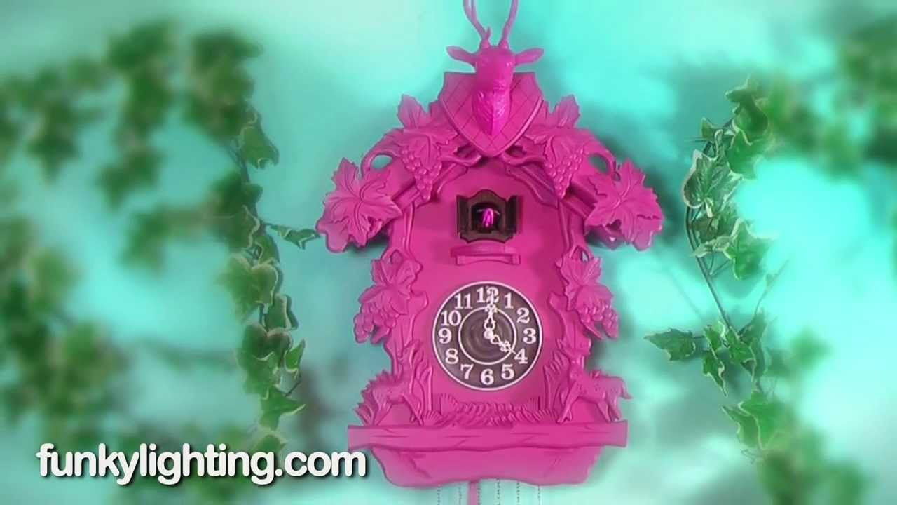 Giant Funky Pink Wooden Cuckoo Wall Clock Youtube