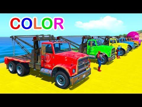 Tow Truck Cartoon for kids Learn Colors & Sport Car Racing in Spiderman Cartoon w/ Nursery Rhymes