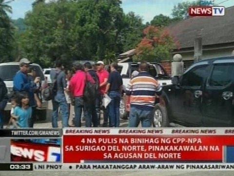NTVL: 4 na pulis na binihag ng CPP-NPA sa Surigao del Norte, pinakakawalan na