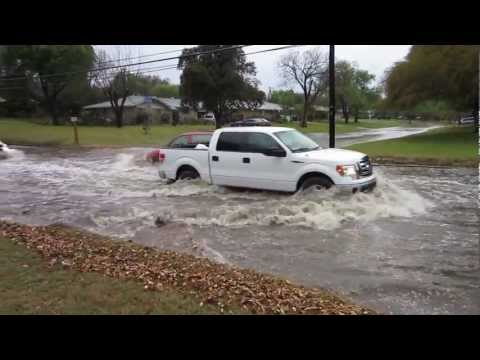 Cars drive into water flow after Awesome Hail Storm in San Antonio Texas Easter Day 2013