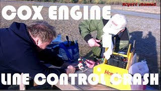 Old helicopter - Line controlled plane crash - Cox engine