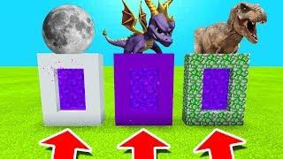 Minecraft PE : DO NOT CHOOSE THE WRONG PORTAL! (The Moon, Spyro & Tyrannosaurus)