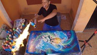 Gotenks Dragon Ball Spray Paint Art