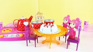 Masha Dolls Play At Home - Tea Party Fun Games For Kids Masha And The Bear Cartoon