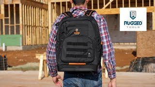 Rugged Tools Worksite Tool Backpack - 68 Pockets & Utility Organizers w/Laptop Sleeve - Heavy Duty