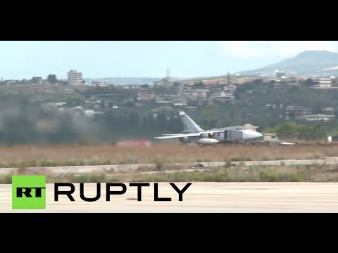 RAW: Russian jets taking off from Latakia base in Syria