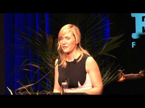 Kate Winslet on the red carpet, being interviewed by Leonard Maltin and accepting the Montecito Award from fellow actor Bill Nighy at the 24th Santa Barbara ...