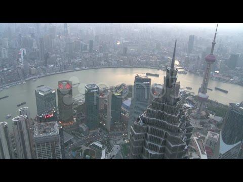 Shanghai Bund Aerial From The World Financial Center. Stock Footage