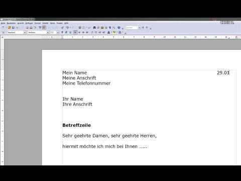 Einstieg in Open Office Writer (Bewerbung)
