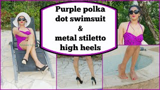 Crossdresser - purple polka dot swimsuit and thin metal stiletto high heels | NatCrys