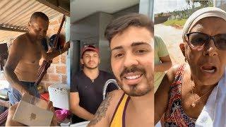 Carlinhos Maia Dá Iphone à Virgílio+Com Lucas Em Casa