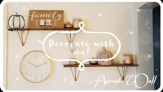 NEW!! Decorate with me!!/// Livingroom accent wall// holiday decorating!! fall decorating