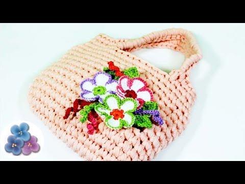 Como hacer un bolso de trapillo con flores de crochet xxl - Como hacer trapillo ...