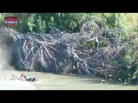 Patrulla Fronteriza VS MIgrantes en el sector de los dos Laredos