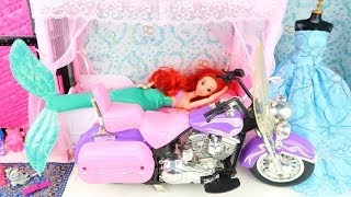Ariel Mermaid Ride on POCKET BIKE Barbie & Ken Princess Pink Doll House Rapunzel Morning Routine