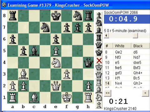 Chess World.net:  Blitz #154 vs. SockOomPOW (2066) - Sicilian Defense : Smith-Morra gambit (B21)