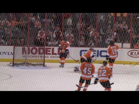Carter Hutton During Warmups (03/28/10 - Philadelphia Flyers)