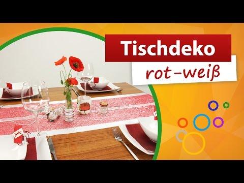 ♥ Tischdeko Rot Weiß ♥ Tischdekoration | Trendmarkt24
