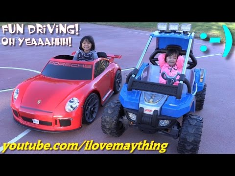 Ride-On Power Wheels Drive Time w/ Hulyan & Maya! Porsche 911 GT3 and Baja Extreme