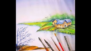 How to Draw a Village landscape with watercolor|| bd || moktadir mahi