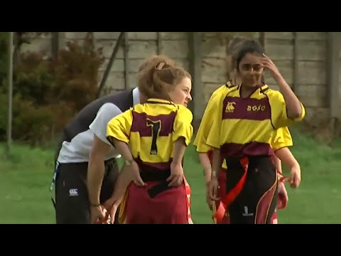 Prince Harry rugby tackles a girl at Eccles RFC