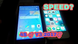 Huawei y3 2017 vs Iphone 4s Speed test