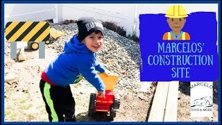 TODDLER Playing With Construction Vehicles Kid Picking Big Rocks