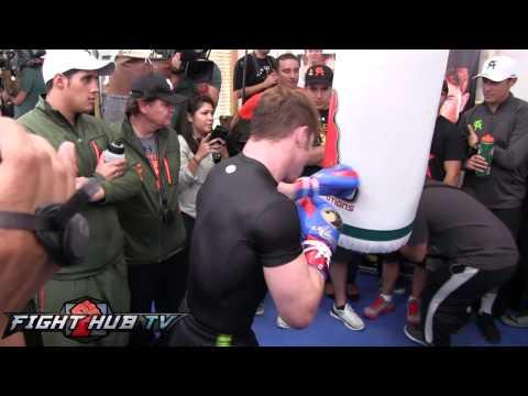 Floyd Mayweather vs Canelo Alvarez Alvarez full heavybag workout HD