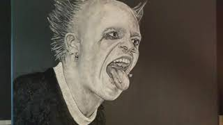 Keith Flint - Prodigy. Acrylic Artwork painted onto canvas. Start to finish in a photo Story.