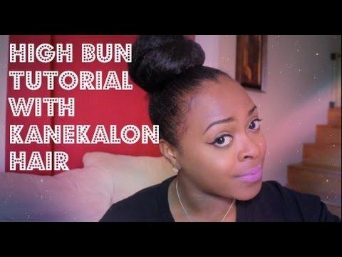 High Bun Tutorial with Kanekalon Hair Transitioning Hair