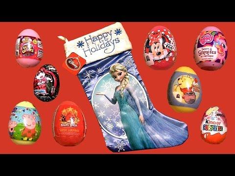 Elsa Christmas Stocking Huevos Sorpresa Glitziglobes Barbie Kinder Surprise Peppa Disney Frozen video