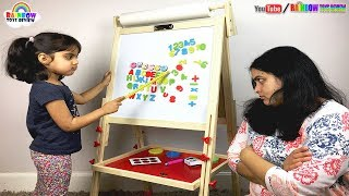 KIDS WOODEN ART EASEL BOARD Review and Unboxing with Ashu & Mommy - Rainbow ToysReview