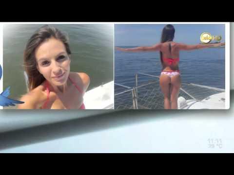 Martina Graf se tiró al agua en la Isla Gorriti