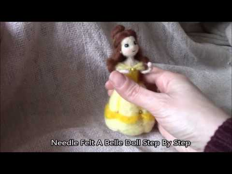 DIY CUTE DISNEY PRINCESS NEEDLE FELT BELLE DOLL PLUSH TUTORIAL