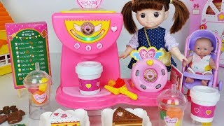 Baby doll princess cafe machine and fruit juice shop toys refrigerator play 아기인형 세라의 공주 카페 장난감 - 토이몽