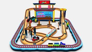 New wooden toy set - Choo Choo Toy train set - Toy train cartoon - Helicopter Cartoon for Kids