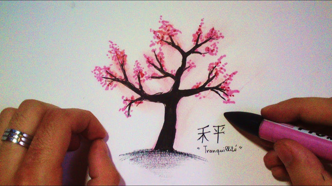 Comment dessiner un cerisier japonais tutoriel youtube - Dessin arbre simple ...