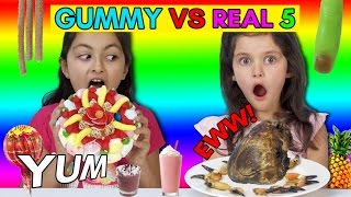 Real vs Gummy Food Challenge Part 5! Kids React to GROSS REAL FOOD -Cows Heart, Crab Claws!