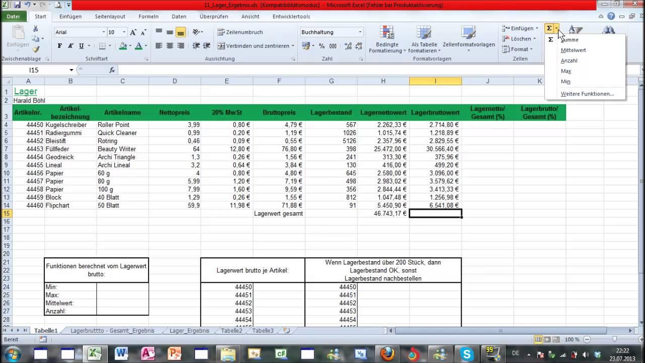 Excel Part 1-1 - ECDL Tutorial - Microsoft Office - Computertraining ...