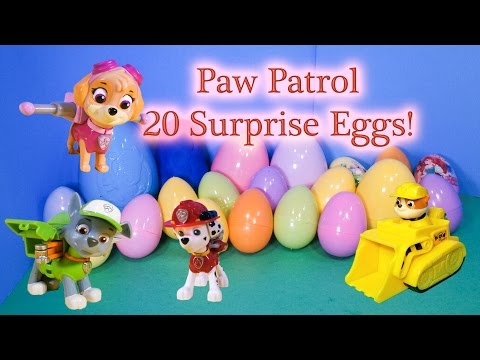 PAW PATROL Nickelodeon Paw Patrol 20 Surprise Eggs a Nick Jr Paw Patrol Surprise Egg Video