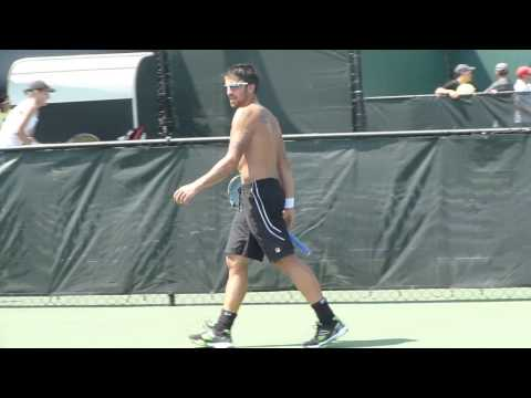 David Ferrer and Janko Tipsarevic practice, Miami - Sony Ericsson Open 2013.