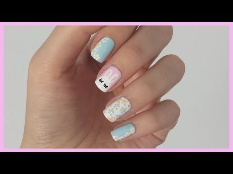 Spring Nail Art! Bunny + Flower Design